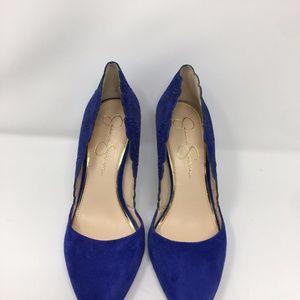 Blue Cassel Black Suede Lasere Cut Heels Pumps